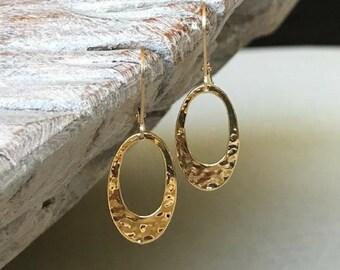 Open Gold Disc Earrings