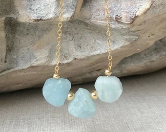 Raw Aquamarine Teardrop Necklace in Gold or Silver