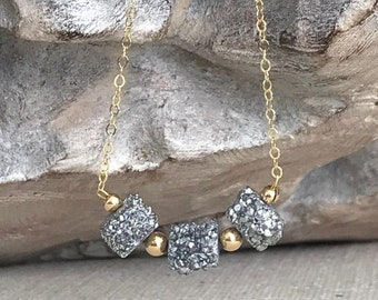 Silver Druzy Necklace in Gold or Silver