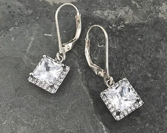 Dainty Silver Cushion Halo CZ Earrings