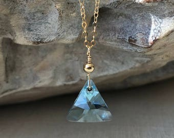 Aquamarine Swarovski Crystal Triangle Necklace in Gold or Silver