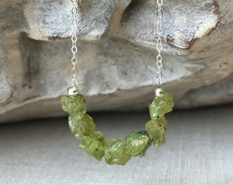 Raw Peridot Necklace in Gold or Silver