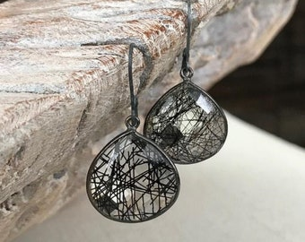 Oxidized Silver Black Rutile Quartz Earrings