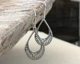 Small Silver Filigree Hoop Earrings