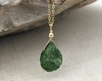 Raw Chrome Diopside Tear Drop Necklace in Gold or Silver