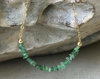 Petite Raw Emerald Necklace in Gold or Silver
