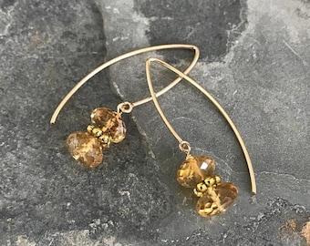 Gold V Shaped Citrine Dangle Earrings