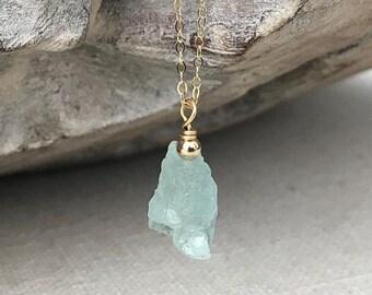 Silver Raw Aquamarine Necklace