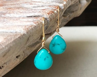 Gold Turquoise Dangle Earrings