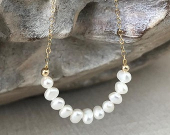 White Freshwater Pearl Necklace in Gold or Silver