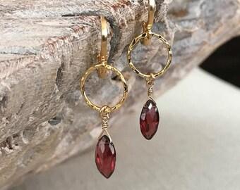 Small Garnet Marquise Hoop Earrings
