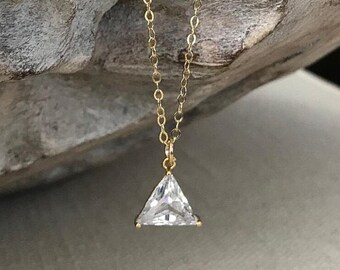 Small Gold Trillion Cut CZ Necklace
