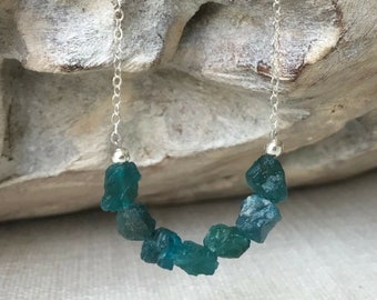 Raw Apatite Necklace in Gold or Silver