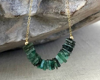 Heishi Emerald Necklace in Gold or Silver
