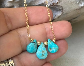 Turquoise Teardrop Necklace in Gold or Silver