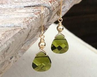 Olivine Crystal Earrings in Gold or Silver