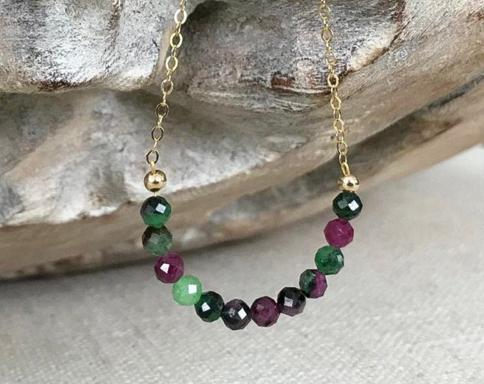 Featured listing image: Ruby Zoisite Necklace in Gold or Silver