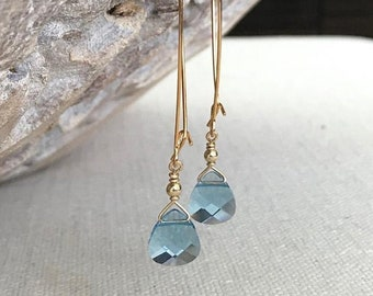 Long Aquamarine Crystal Earrings