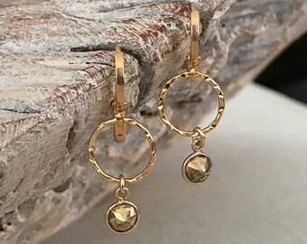 Small Pyrite Dangle Earrings