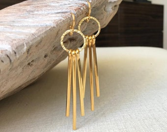 Long Gold Spike Earrings