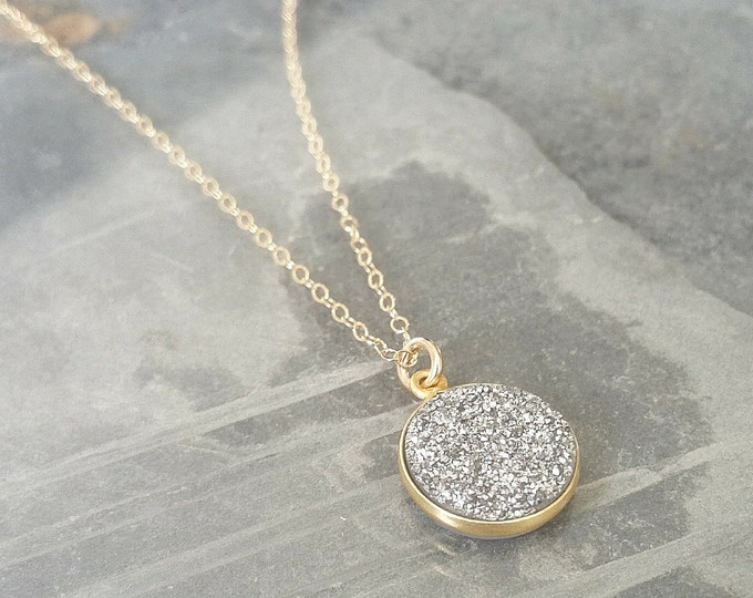 Featured listing image: Silver Druzy Necklace in Gold
