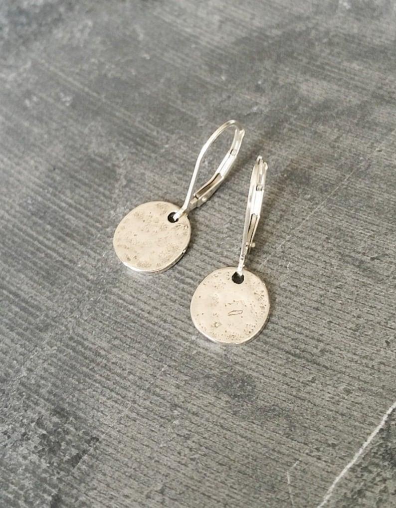 Silver Disc Earrings Modern Jewelry Small Silver Earrings image 0