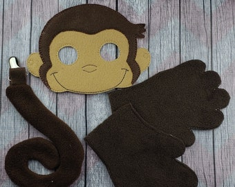 Curious Monkey Costume Gloves Mask And Tail George Halloween Dress Up Pretend Play Story Time Montessori Educational