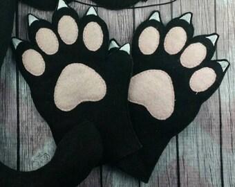 Black cat fleece gloves, kitty cat gloves, Black Cat costume, cat costume gloves, black kitty cat gloves, white cat kids gloves, Halloween