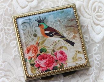 Bird Rose-Whimsical Retro Women - Fashion Vintage Women - Victorian Women - Pill Case - Pillbox- pil box-Compact Mirror-Trinket Box
