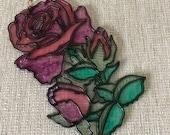 Vintage Wall Window Hanging Suncatcher Faux Stained Glass Flower Rose OCM