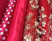 58 quot Wide Red Fabrics Lining Chiffon Gabardine Taffeta Satin White Polka Dot Embroidered Beaded Rhinestone 3D Gold Floral Tulle Pearl Beads