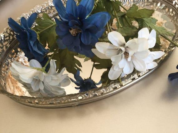 Marine Et Bleu Vintage En Soie Fleurs Bouquet De Fleurs