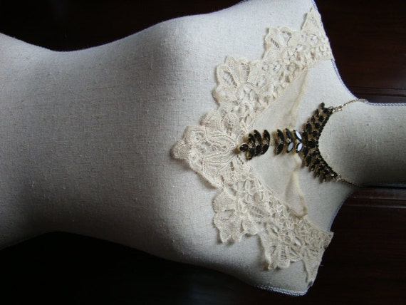 1900's Antique Nude Lace Cotton Collar Tulle Lace