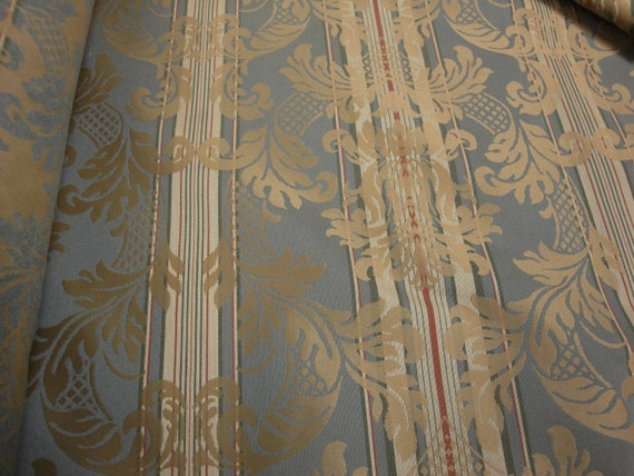 56 Wide Vintage Beige Rusty Red Antique Blue Floral Brocade Damask Flowers And Stripes Pattern Upholstery Fabric Headboard Chair Couch St