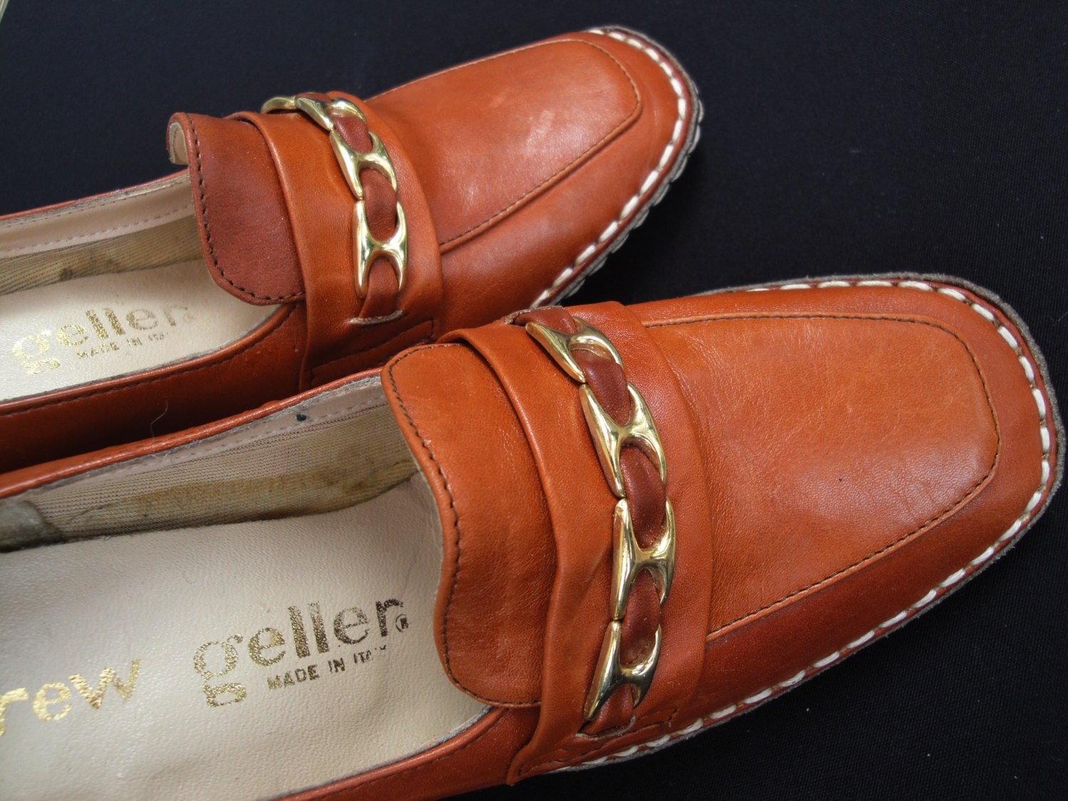 Vintage Genuine Caramel Leather Andrew Geller Italian Caramel Genuine Leather Shoes Heels Hand Stitched Made in Italy Size 4 1/2 USA 35 Europe OS d43adc