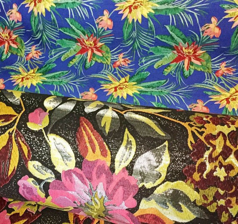 caf32567606 58 Wide Exotic Chinese Brocade Fabric Floral Tropical