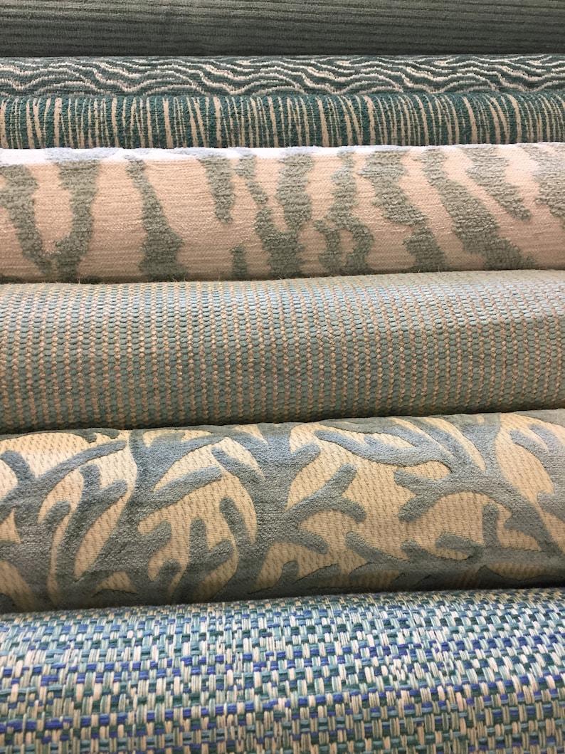 Thibaut Aja Designer Home Decorator Upholstery Rajah Aqua Cream Chenille Fabric  Denim Ombr\u00e9 Stripe Green Blue Teal  Animal Print Tiger