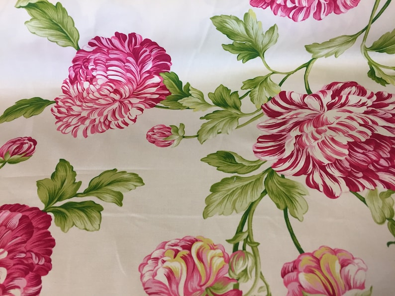 Colonial Williamsburg Floral Cotton Home Decorator Fabric  Waverly Roses Blossoms Pattern Aqua Coral Orange Hot Pink Green Curtain Drapery