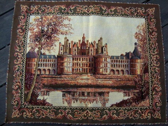 Romantic Russian Tapestry Fabric Vintage Paris Wall Hanging Pillow Cushion Ottoman Upholstery French Tapestry Arc de Triomphe France 134 #2