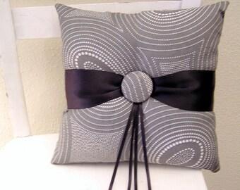 Grey Circles with Black Ring Pillow