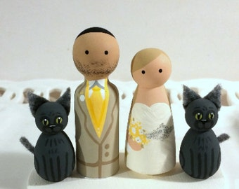 Cake Cuties- Custom Wedding Cake Toppers, plus two Animal Friends