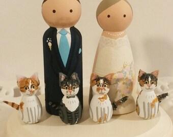 Cake Cuties- Custom Wedding Cake Toppers LARGE SIZE Plus 4 Animal Friends