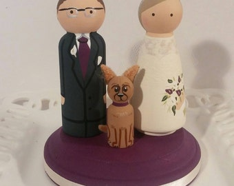Cake Cuties- Custom Wedding Cake Toppers LARGE SIZE Plus 1 Animal Friend