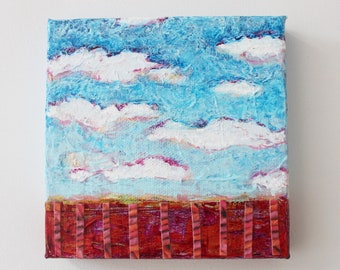 Abstract cloud painting, Blue cloud landscape, Sunset painting canvas, Impressionistic Cloudscape, Cloud artwork, Small square original art
