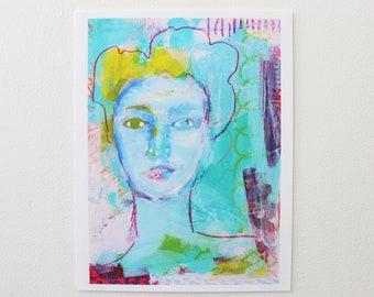 Woman art print, Fine art print, Abstract woman wall art, Figurative modern art, Female portrait art, Eclectic art prints, Aesthetic