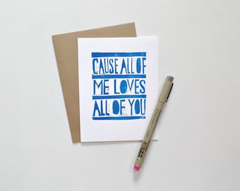 Anniversary card for husband, for him, Love cards for boyfriend, All of me loves all of you, Romantic cards, I love you card, Birthday card