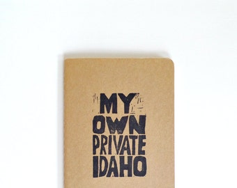 My own private Idaho moleskine notebook, Cult Movie quote journal, Pop culture, B52s song lyrics notebook, River Phoenix, Keanu Reeves
