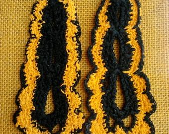 Yellow Orange & Black Long Crochet Earrings