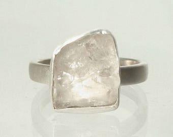 Phenakite Ring -  6.1 Carat Natural  Raw Phenacite  Crystal in Recycled Silver Phenacite  Custom Made to Order Ring