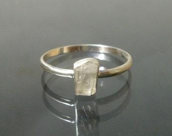 Phenakite Ring -  Natural  Raw Crystal in Recycled Silver Phenacite  Stack Ring